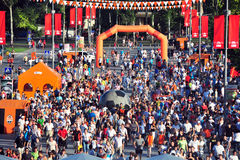 Fans of the team Shakhtar Donetsk go to the Arena Royalty Free Stock Image