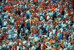 Fans of the team Shakhtar Donetsk in the stands Royalty Free Stock Photo