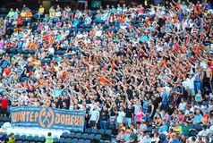Fans of the team Shakhtar Donetsk in the stands Stock Photo