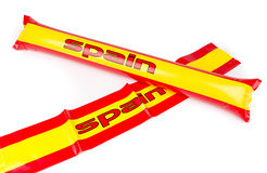 Fans Thundersticks - Spain Football Isolated Stock Photo