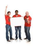Fans : Types encourageant avec le signe vide Image stock