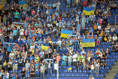 Fans with Ukrainian flags Royalty Free Stock Photography