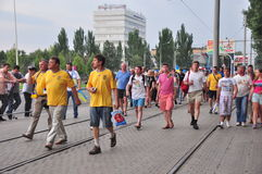 Fans of the Ukrainian team going down the street Stock Photography