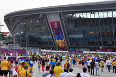 Fans of the Ukrainian team going to the stadium Royalty Free Stock Images