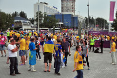 Fans of the Ukrainian team going to the stadium Stock Image