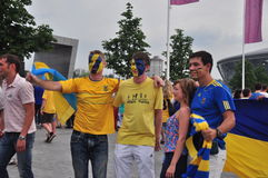 Fans of the Ukrainian team photographed Stock Photos