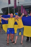 Fans of the Ukrainian team are photographed Stock Image