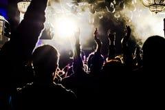 Fans under en konsert Arkivfoto