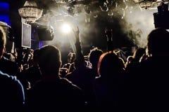 Fans under en konsert Royaltyfri Foto