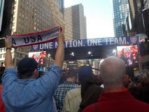 Fans During USA Soccer Celebration in Times Square Stock Images