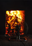 Fans usadas para alimentar el fuego Fotografía de archivo libre de regalías