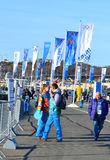 Fans and volunteers at the entrance to the Olympic Park Royalty Free Stock Photography