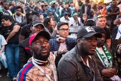 Fans während des Fußballspiel Weltcups Nigeria-Mexiko lizenzfreie stockfotografie