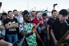 Fans während des Fußballspiel Weltcups Nigeria-Mexiko lizenzfreie stockbilder