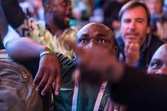 Fans während des Fußballspiel Weltcups Nigeria-Mexiko stockbilder