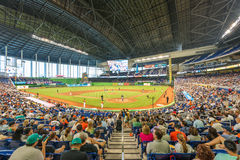 Fans watching a baseball game at the Miami Marlins Stadium Royalty Free Stock Images