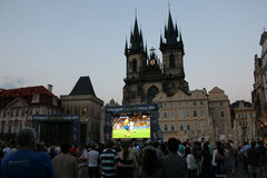 Fans watching football in Prague Royalty Free Stock Photography