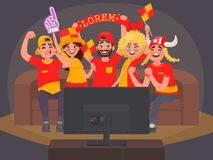 Fans watching the live broadcast of the match on TV and cheer for their team Royalty Free Stock Photography