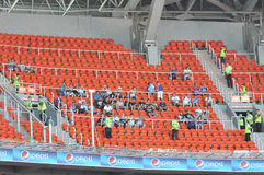 Fans of Zenit on the stand for guests Royalty Free Stock Photo