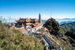 Kim Son Bao Thang Tu Pagoda on Fansipan mountain,Fansipan highest mountain peak of Indochina. Fansipan highest mountain peak of Indochina in SAPA Lao cai stock images