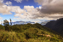 Fansipan Mountain. It is located in the Lào Cai province of Northwest Vietnam, 9 km southwest of Sa Pa Township in the Hoang Lien Son mountain range Royalty Free Stock Photography