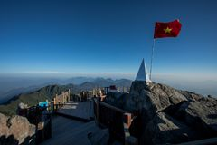 Fansipan summit highest mountain peak of indochina sapa lao cai. Province northern of vietnam royalty free stock images