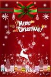 Fanstastic-Weihnachtsillustration des Rens fliegend über Stadt - Illustration eps10 Stockbild