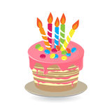 Fansy cake 2. Birthday cake with burning candles isolated on white background, Vector Illustration Royalty Free Stock Photos