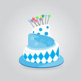 Fansy cake. Blue Birthday cake with burning candles  on white background, Vector Illustration Stock Photography