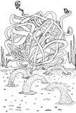 Fantástico, estrangeiro, desenhos animados, fundo preto e branco, isolado Imagem de Stock