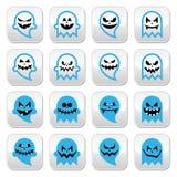 Fantôme effrayant de Halloween, boutons d'esprit réglés Photos stock