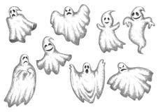 Fantômes drôles de bande dessinée de Halloween réglés Photos stock