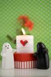 Fantômes du jour de Valentineépousant avec la bougie, les fleurs et le foyer Image libre de droits