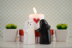 Fantômes du jour de Valentineépousant avec la bougie, les fleurs et le foyer Images libres de droits