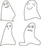 Fantômes, noir et blanc, dessinant, émotions : joie, bonheur, surprise, choc, Halloween, Halloween Photographie stock libre de droits