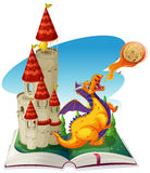 Fantacy book with dragon and castle Royalty Free Stock Photography