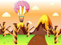 Fantacy land with candy balloon and waffle trees Stock Images