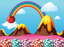 Fantacy land with strawberry field and lollipops. Illustration Royalty Free Stock Photo
