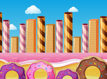 Fantacy scene with donuts and pink ocean Royalty Free Stock Images