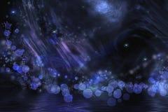 Fantasía abstracta en negro y azul Foto de archivo