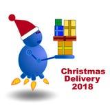 Fantasía de la entrega de los regalos de la Navidad stock de ilustración