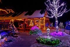 Fantasía de la Navidad - luces de la casa de campo y del árbol fotos de archivo