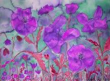 Fantasía de un campo extraño coloreado de amapolas Fotografía de archivo libre de regalías