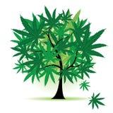 Fantasía del árbol del arte, hoja del cáñamo stock de ilustración