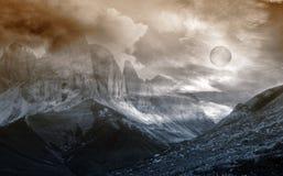 Fantasía del paisaje de la montaña foto de archivo
