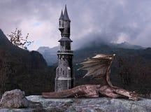 Fantasía Dragon Tower del cuento de hadas ilustración del vector