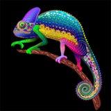 Fantasía floral del arco iris del camaleón stock de ilustración