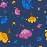 Fantasía hermosa de las flores en un fondo azul Imágenes de archivo libres de regalías