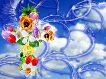 Fantasía religiosa de la flor cruzada Foto de archivo