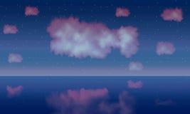 Fantasía y estrella de la nube de los pescados en el cielo azul en el mar ilustración del vector